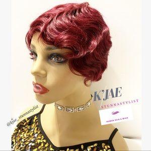 Accessories - Marilyn Costume Wig 100% Human Hair In Plum Ruby